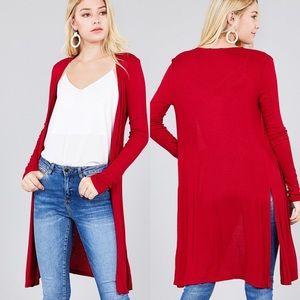 Sweaters - Plus & Reg Red Long Sleeve Cardigan